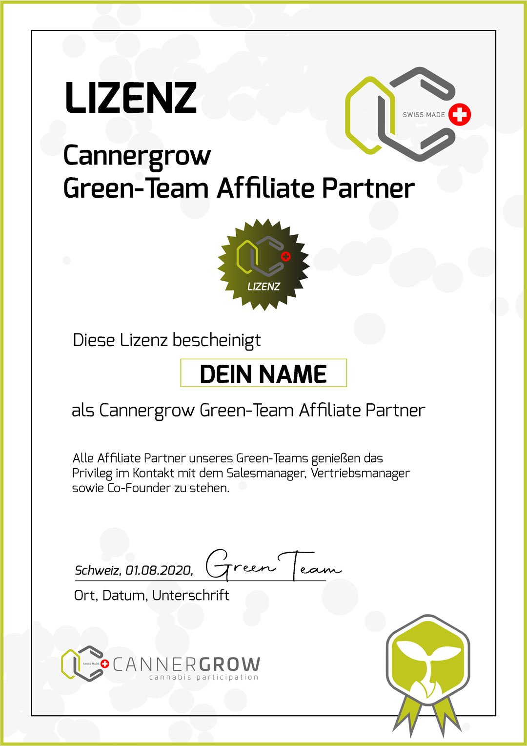 Cannergrow Green Team Lizenz in 2D