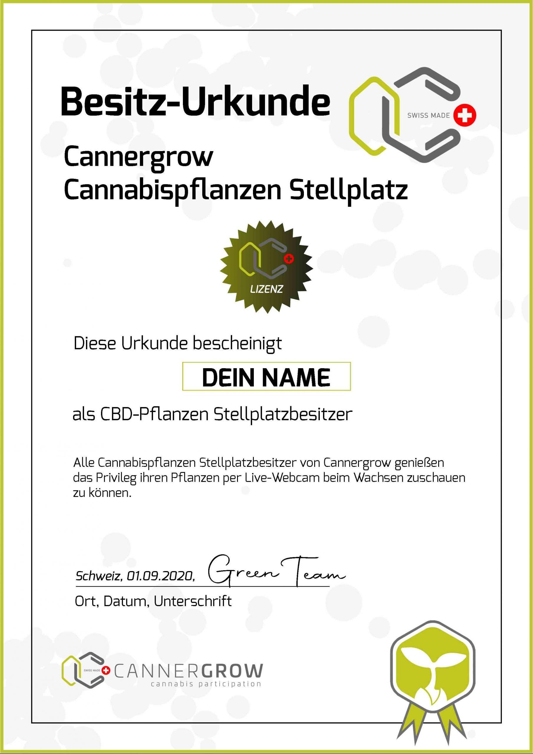 Cannergrow Besitz Urkunde in 2D